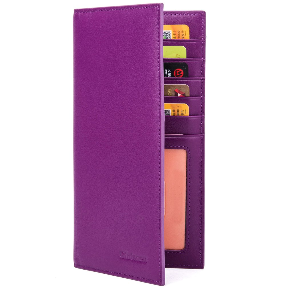 Slim Leather ID/Credit Card Holder Long Wallet with RFID Blocking - Purple