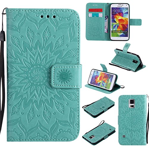 Price comparison product image Galaxy S5 Wallet Case, A-slim(TM) Beauty Fashion Sun Pattern Embossed PU Leather Magnetic Flip Cover Card Holders & Hand Strap Wallet Purse Cover Case for Samsung Galaxy S5 I9600 - Green