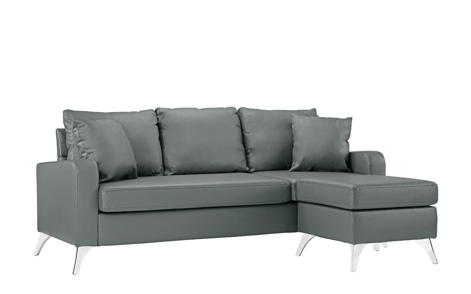 "Divano Roma Furniture Bonded Sectional, Light Grey - Bonded Leather small space reversible chaise sectional sofa Durable bonded leather upholstery with hardwood frame and chrome finish metal legs Measures: 76""W x 54""D x 34""H inches - sofas-couches, living-room-furniture, living-room - 61jn3oiSn4L -"