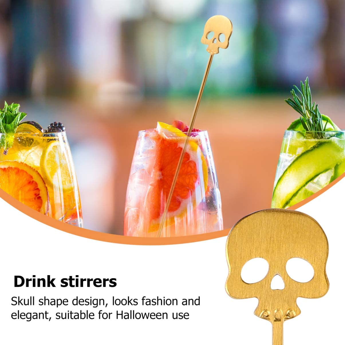 Amosfun 4pcs Halloween Stirrers Swizzle Sticks Stainless Steel Coffee Stirrers Cocktail Drink Swizzle Stick Skull Shape Mixing Stick for Home Bar Office Golden