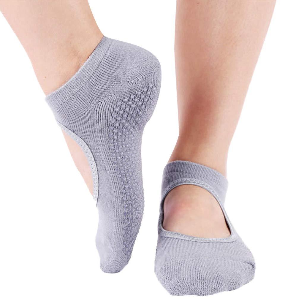 Ballet Non Skid Socks for Women Non Slip Grip Yoga Socks Sports Socks Exercise Gym Socks for Dance (E)