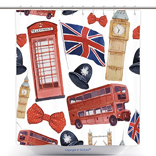 [Fun Shower Curtains Watercolor London Pattern Seamless Texture With Hand Drawn Elements Red Phone Booth Big Ben 270595877 Polyester Bathroom Shower Curtain Set With Hooks] (Red Phone Booth Costume)
