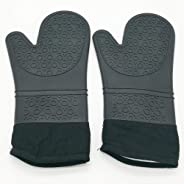 Extra Long Professional Silicone Oven Mitt for Heat Resistant Potholder Gloves with Quilted Liner Non Slip Grip Barbecue Glov