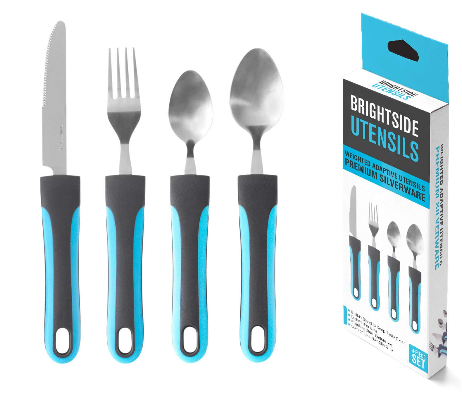 Adaptive Weighted Utensils Premium Silverware (4-Piece Set) - 1 Knife, 1 Fork and 2 Spoons with Weighted, Non Slip Handles for Elderly, Tremors, Arthritis & Disabled