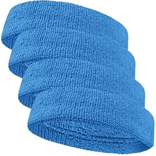 - COUVER Baby Infant Sky Blue Terry Solid Color Headband/Terry Cloth Head Band - 4pieces