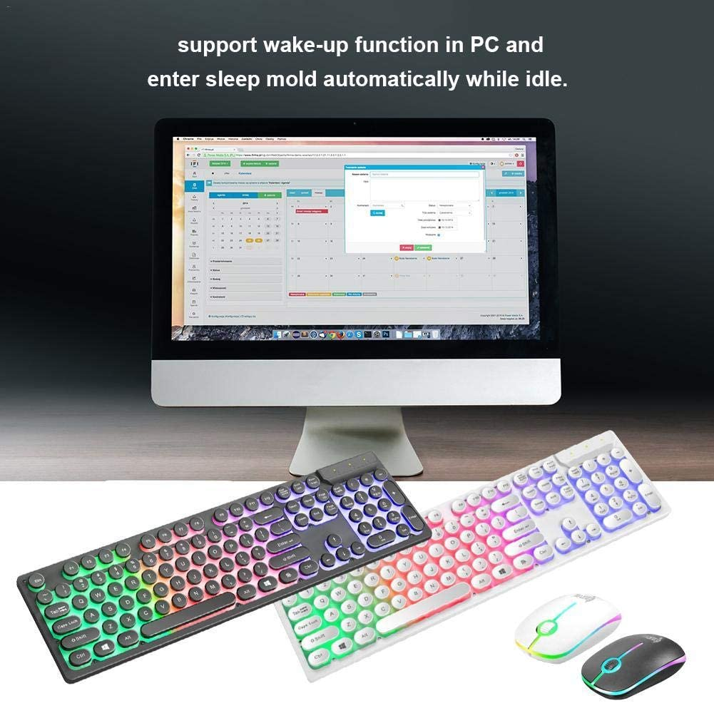 United States//Black RGB Luminous Keyboard Mouse Set 2.4GHZ Wireless USB Computer Keyboard and Mouse for Computer PC Tablet Keyboard Suits