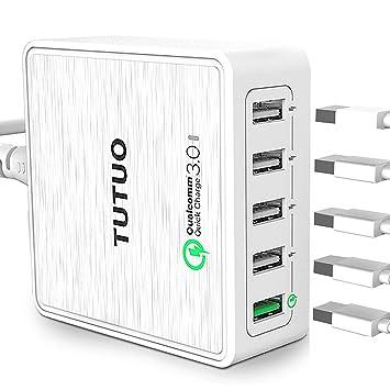 TUTUO Cargador USB 40W 5 Puertos con Quick Charge 3.0 Carga Rápida Estación de Carga Adaptador de Corriente para iPhone X, Galaxy S10, iPad ...