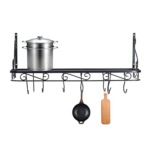 Amazon Com Wall Mounted Pots And Pans Rack Pot Holders Wall