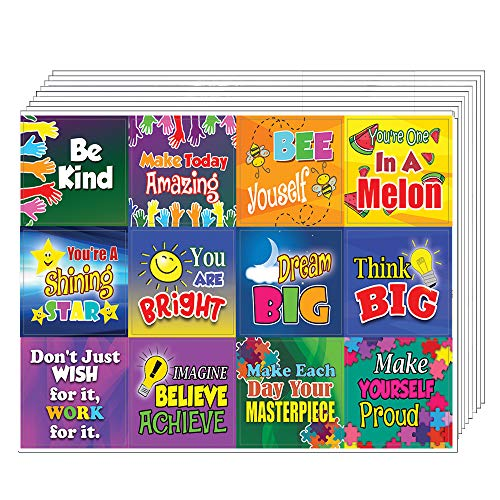 Creanoso Colorful Inspirational and Motivational Quote Stickers for Kids (10-Sheet) - Inspiring Encouraging Words Wall Art Sticker Assorted Set - Gift Incentives Ideas - Parents Teacher Rewards