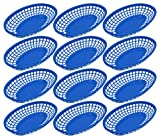 Set of 12 Blue Oval Fast Food / Deli Baskets, 9.25 by 5.67-Inch, Blue (12)