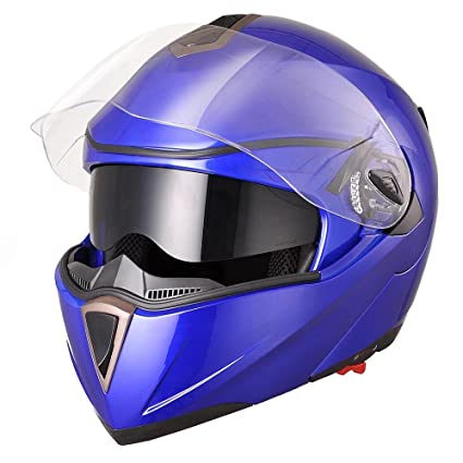 Yescom Full Face Flip up Modular Motorcycle Helmet DOT Approved Dual Visor Motocross Blue M