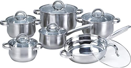 Heim Concept 12-Piece Induction Ready Stainless Steel Cookware Sets with Glass Lid, Silver on Cookware Sets Stainless Steel