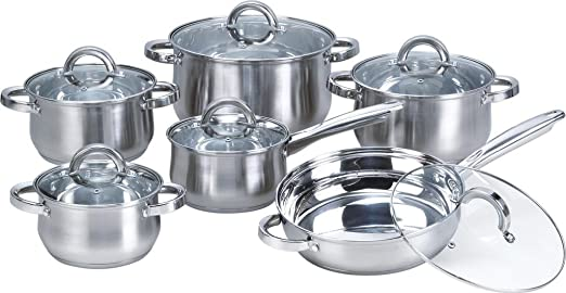 Heim Concept 12-Piece Induction Ready Stainless Steel Cookware Sets with Glass Lid Silver on Cookware Sets Stainless Steel Cookware Sets on Sale