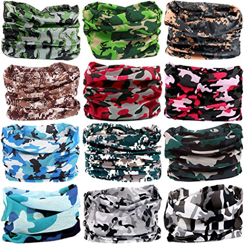 Headwear Head Wrap Sport Headband Sweatband 220 Patterns Magic Scarf 12PCS & 6PCS 12 in 1 By VANCROWN (12PCS.Camouflage 4)