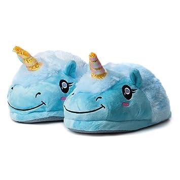 Katara 1775 - Bunte Kuschelige Plüsch Einhorn Hausschuhe Schuhe Pantoffeln Slipper, Geschenk, Einheitgröße 36-44, Blau