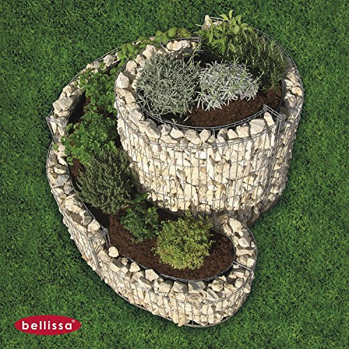 BELLISSA Kräuterspirale 90 x 110 cm, 95605, Kräuterschnecke, Hochbeet, Gabione, Kräuterbeet, Pflanzbeet, Gemüsebeet, Blumentopf von Gartenwelt Riegelsberger