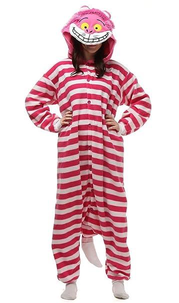 Auspicious beginning Unisex-adulto de Cosplay del traje del gato de Cheshire estriado pijamas de