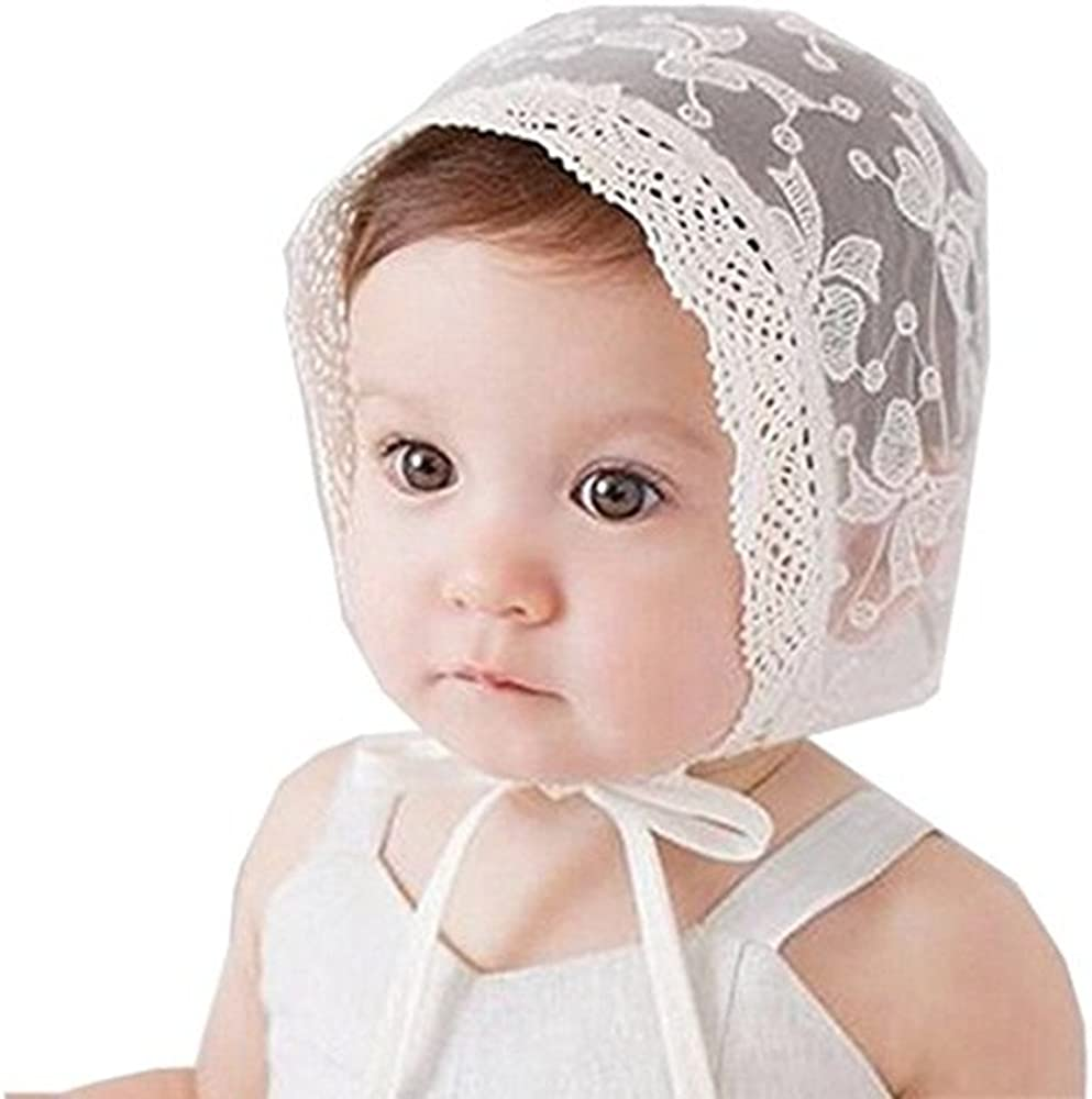 Royal Lace Flower Baby Girls Toddlers Eyelet Lace Breathable Cotton Bonnet Sun Hat