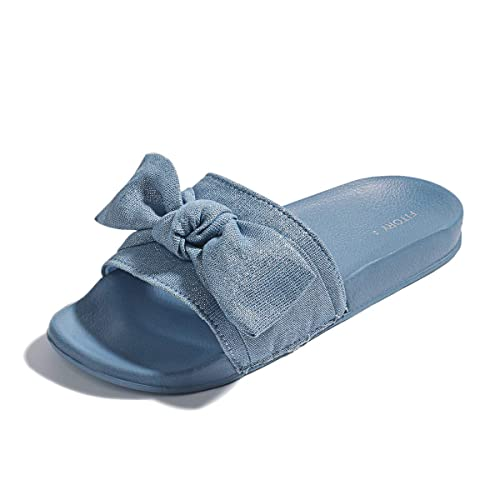 ae7f6b2d5 FITORY Womens Slides, Bow Sandals with Arch Support Comfortable Beach  Slippers for Summer Blue