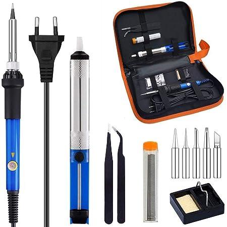 Kit de Soldador, ICONNTECHS Soldador de Temperatura Ajustable con estuche de Herramientas, Soldador Eléctrico 60W 220V: Amazon.es: Bricolaje y herramientas