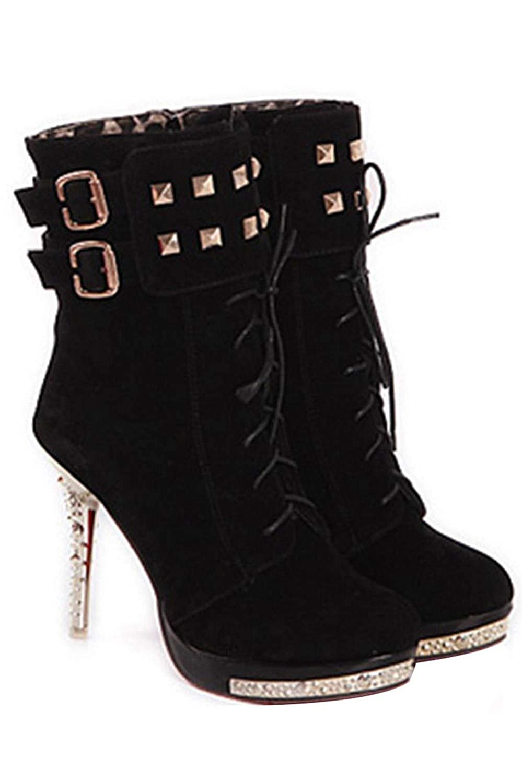UENGF High Heel Damen Plateau Pumps Stiletto Stiefeletten High Heels Stiefeletten Stiletto Schuhe Schwarz 35 2d37b2