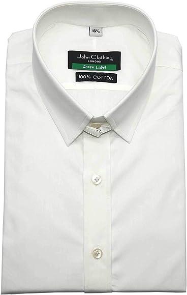 Camisa para hombre 100% algodón con cuello de trabilla, color blanco, manga larga, puño individual para caballeros Blanco blanco 15: Amazon.es: Ropa y accesorios