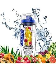 amzdeal Wasserflasche Trinkflasche 1 Liter Kunststoff Trinkflasche Sport Flasche Fruit Infuser mit Fruchteinsatz 2 Kühlung BPA Frei Tritan