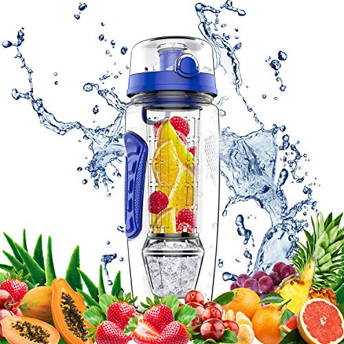 amzdeal Fruit Infuser Water Bottle - 1L / 32 Oz Sports Water Bottle BPA Free with Infusion Rod and Freezer Ice Ball Leak Proof and Non-Slip Design for Outdoor School Office
