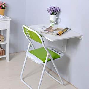 Floating Desk Folding Shelf Wall-Mounted Desk Laptop Computer Study Table Space-Saving Hanging Convertible Desk Writing Desk Small Desks for Small Spaces (White)