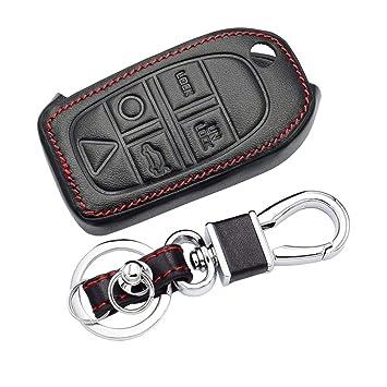 Happyit Cuero Llave del Coche Caso Cubrir Llavero para Volvo S80 S60 V50 V70 XC70 XC90 Cáscara del Mando a Distancia de 5 Botones (A)