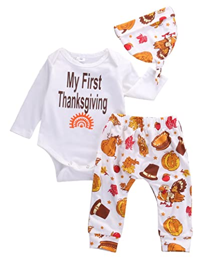 d6f742599038 Thanksgiving Gift Infant Baby Boy Girl Clothes Romper Pants Leggings 3PCS  (0-6 Months