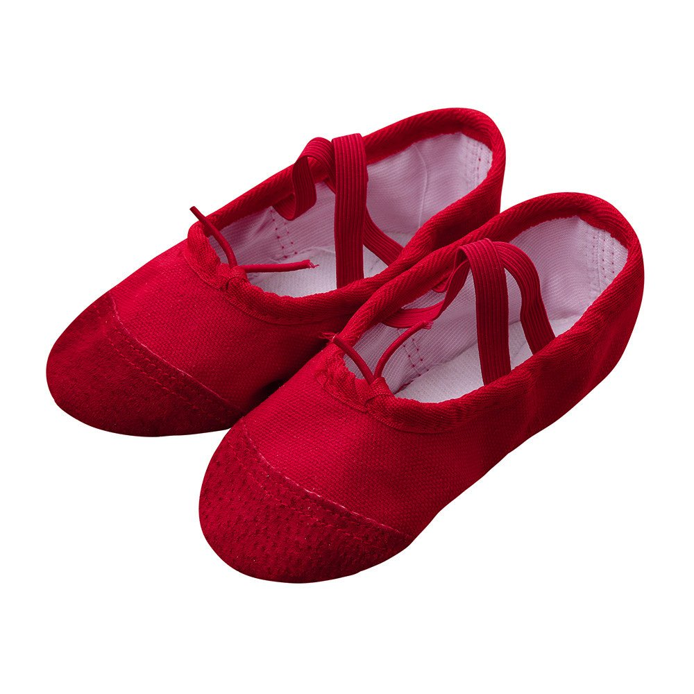 Lurryly Canvas Ballet Pointe Dance Shoes Fitness Gymnastics Slippers for Children 2-7 T