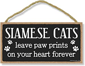 Honey Dew Gifts Siamese Cats Leave Paw Prints, Wooden Pet Memorial Home Decor, Decorative Cat Bereavement Wall Sign, 5 Inches by 10 Inches