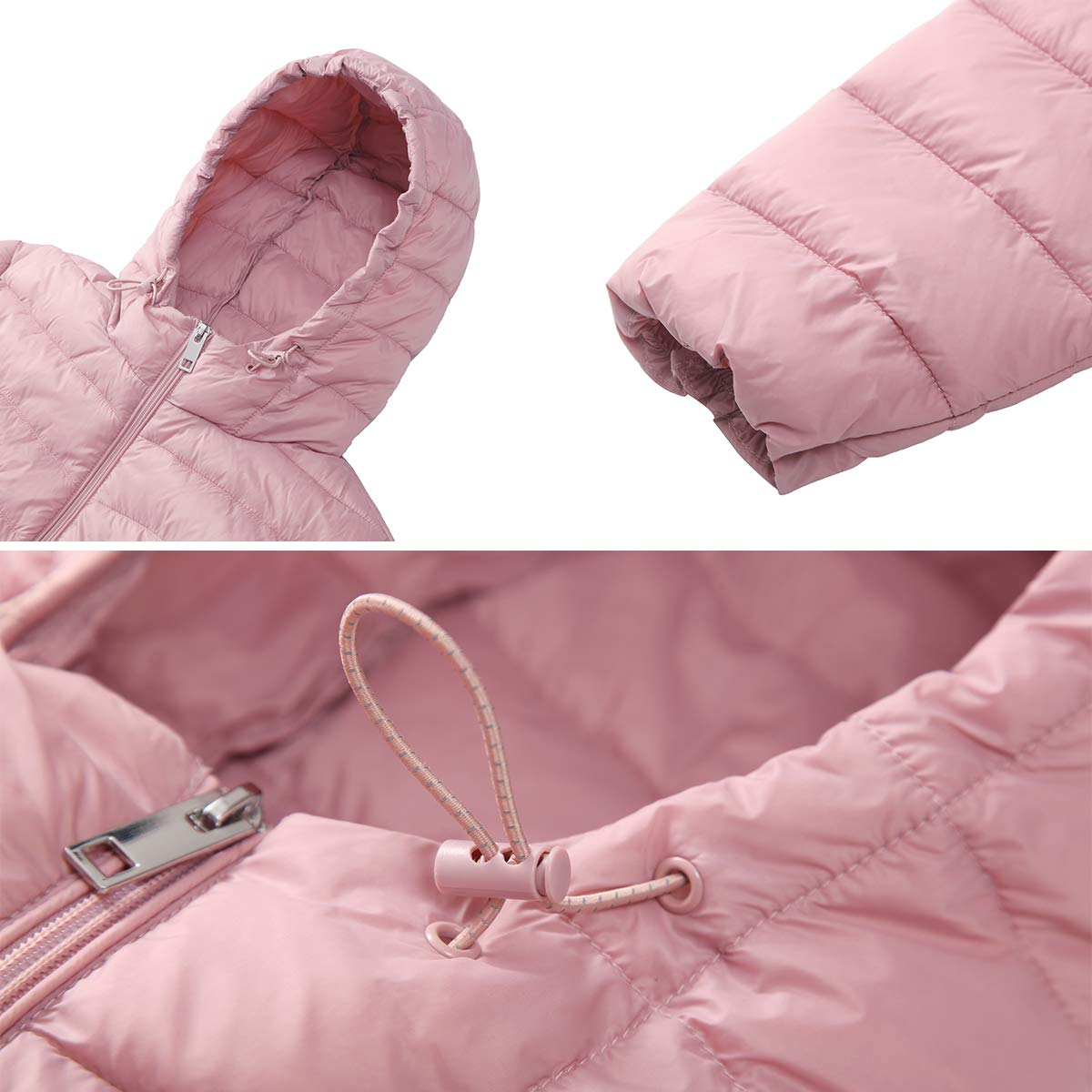 Rokka/&Rolla Womens Lightweight Water-Resistant Hooded Packable Long Puffer Coat Jacket