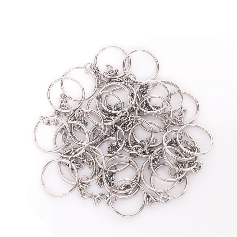 KINGFO 150PCS Split Key Ring with Chain and Jump Rings Nickel Plated Split Key Ring with Chain Silver Color Metal Split Key Chain Ring Parts with 1inch//25mm Open Jump Ring and Connector.