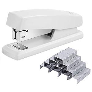 Deli Stapler, Desktop Staplers with 640 Staples, Office Stapler, 25 Sheet Capacity, White