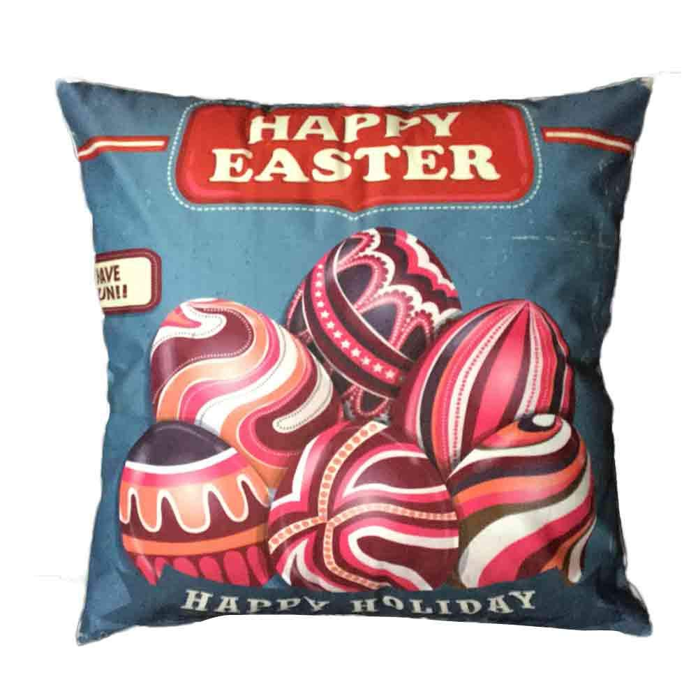 Pgojuni Easter Sofa Bed Home Decoration Festival Pillow Cover Easter Eggs Pillow Case Cushion Cover (H)