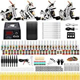 Solong Tattoo Complete Starter Beginner Tattoo Kit 4 Pro Machine Guns 54 Inks Power Supply Foot Pedal Needles Grips Tips TK459