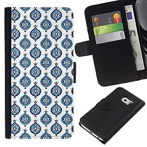 Planetar® Modelo colorido cuero carpeta tirón caso cubierta piel Holster Funda protección Para Samsung Galaxy S6 / SM-G920 EDGE ( Blue White Wallpaper Paint )