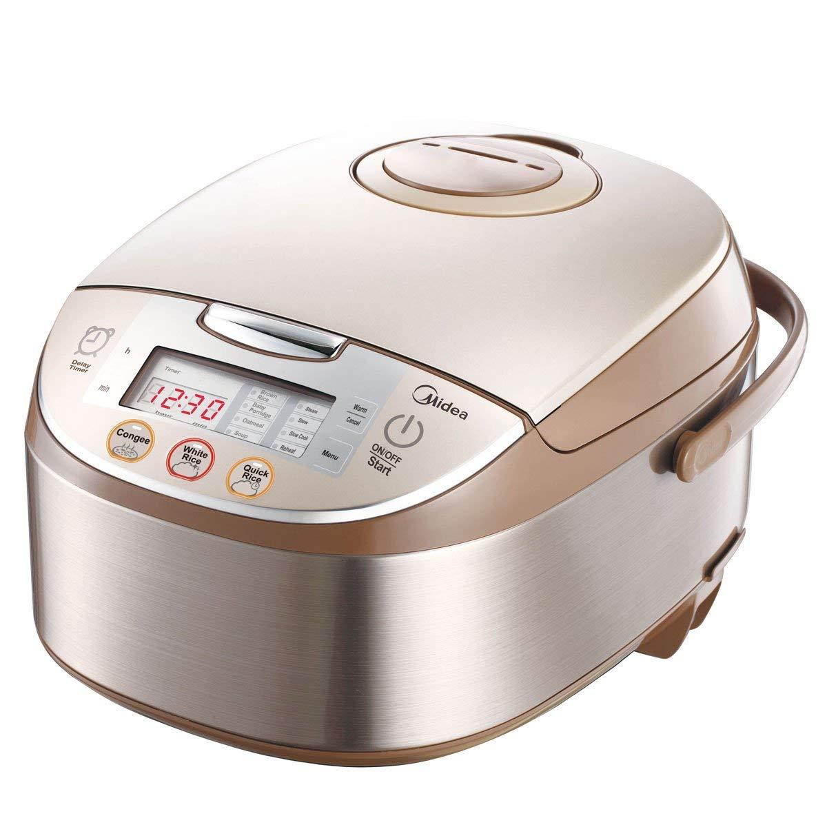 Midea Mb-fs5017 10 Cup Smart Multi-cooker/Rice Cooker/Maker & Steamer & Slow Cooker, Brushed Brown, 5Qt/875W (Renewed)