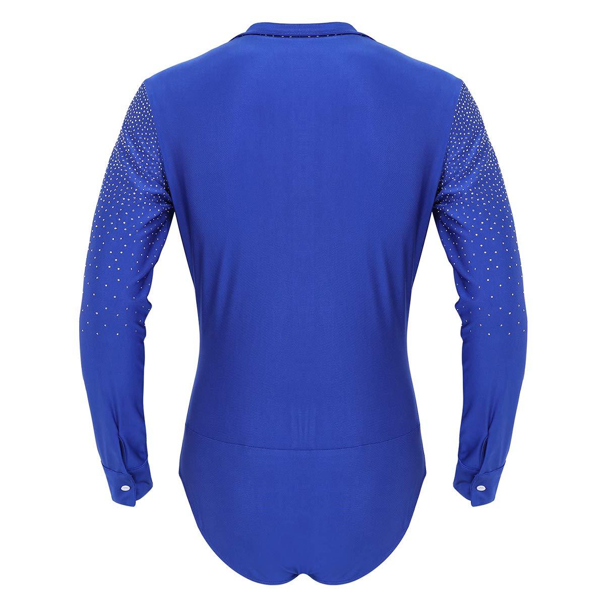 iixpin Homme Justaucorp de Danse Latine Haut de Danse Manches Longues Crop Top Paillettes de Gymnastique Patinage Artistique Sportwear Dancewear pour Adult M-XXL