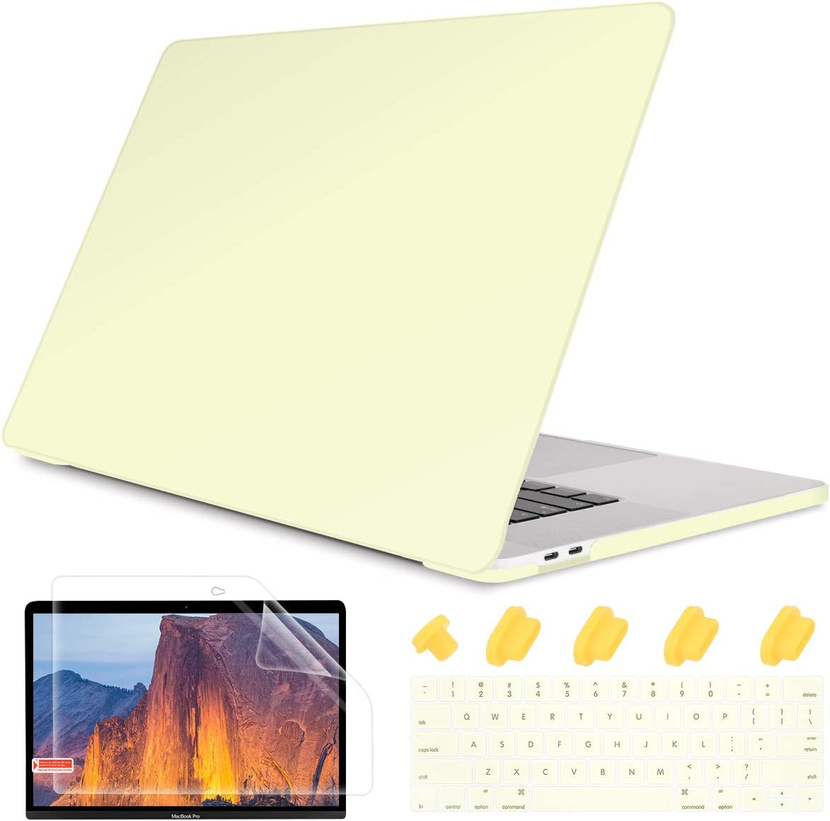 """May Chen Laptop Case for MacBook Pro 13"""" (2019/2018/2017/2016) w/Keyboard Cover and Screen Protector Plastic Hard Shell Case A2159/A1989/A1706/A1708 Touch Bar 3 in 1 - Cream Yellow"""
