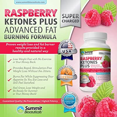 Raspberry Ketones Plus+ Advanced Fat Burning Formula - Top-Rated, Stimulant Free Weight Loss Supplement and Appetite Suppressant for Men and Women. Includes African Mango, Acai Berry, Grape Skin Extract and Other Select, All Natural Thermogenic Fat Burnin
