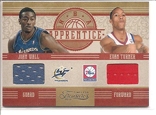 John Wall Evan Turner 2010-11 Panini National Treasures NBA Apprentice 2-Color Dual Jersey Basketball Card #88/99