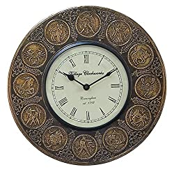 Decorative Wall Clock Zodiac Astrology Round Metal with Roman Numeral Clock Face 12 Inch