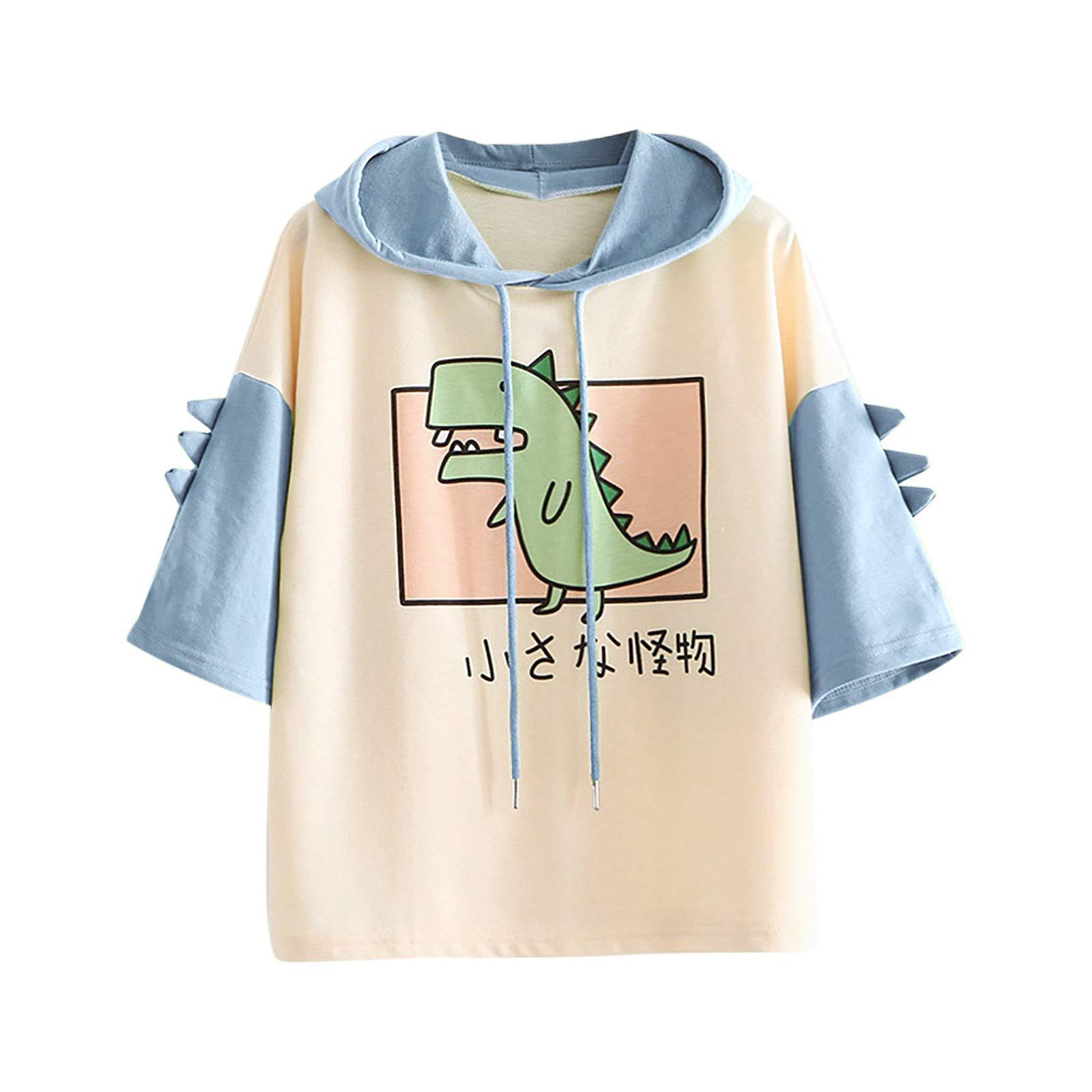 T Shirts for Teen Girls, Women's Cute Emo Dinosaur Shirt Loose Drawstring Hoodie Short Sleeve Tops Casual Graphic Tees