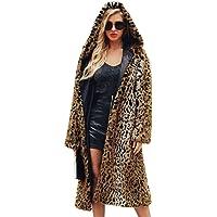 MEIbax Mujeres de Invierno Moda Casual Estampado de Leopardo Sexy Warm New Cardigan Abrigo Largo Damas Chaqueta de Abrigo de Piel sintética Caliente Leopardo con Capucha Parka Prendas