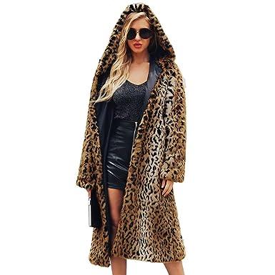MEIbax Mujeres de Invierno Moda Casual Estampado de Leopardo Sexy Warm New Cardigan Abrigo Largo Damas Chaqueta de Abrigo de Piel sintética Caliente ...