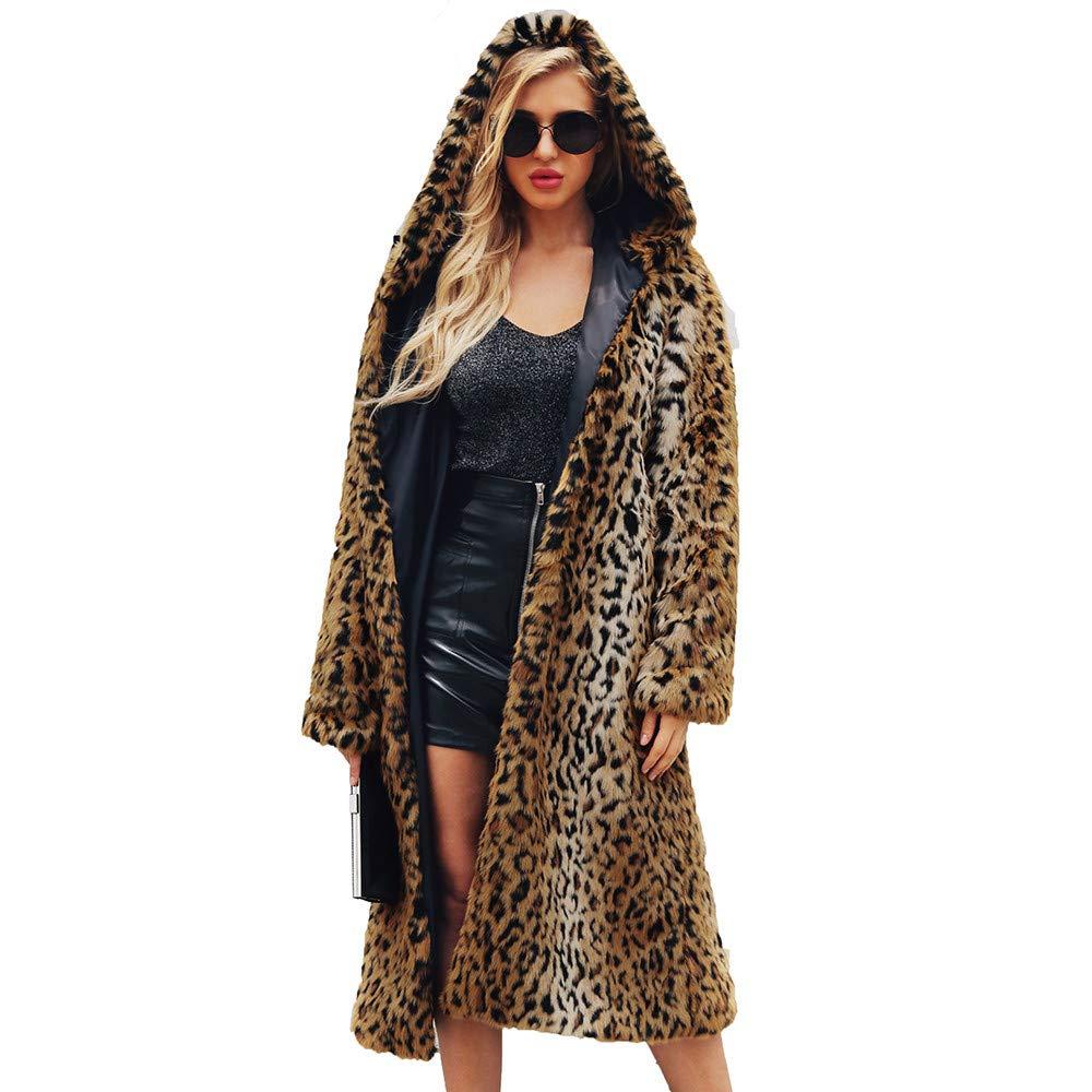 Kulywon Womens Ladies Warm Faux Fur Coat Jacket Winter Leopard Hooded Parka Outerwear