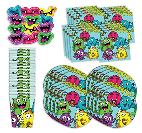 Bestie Planet Monster Party Supplies - Cups, Napkins, Monster Party Plates & Monster Photo Prop Masks - 64 Total Pieces - Great for a Little Monster Themed Birthday Party or Slime Birthday Party -